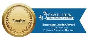 Finalist medallion - Financial Review Higher Education Awards - Emerging Leader Prof Alex Newman